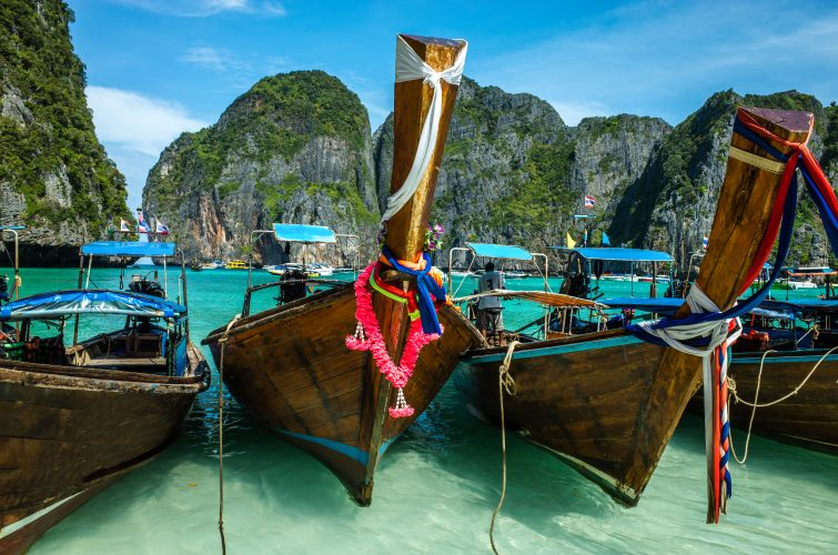 Boats in the archipelago of Phi Phi island, Phuket
